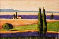 Рисуем картину «Лавандовые поля с кипарисами»