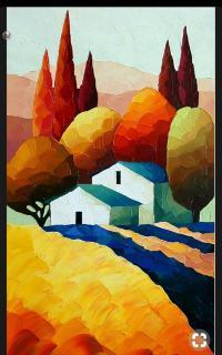 Рисуем работу «Пейзаж» Эрнеста Хилденбранта